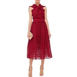 Oscar de la Renta Eyelet Cotton Cross Front Dress